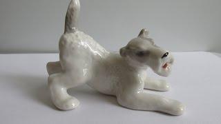 Фарфоровая статуэтка собака фокстерьер ЛФЗ СССР