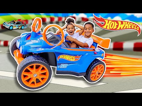 SURPRISING DJ & KYRIE WITH A POWER WHEELS HOT WHEELS RACER | THE PRINCE FAMILY CLUBHOUSE |