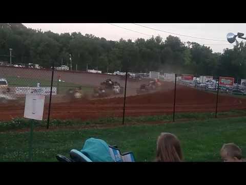 Hopkins Crash USAC Sprint Car B Main Bloomington Speedway