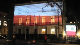 Iluminacja na Ambasadzie RP w Sztokholmie z okazji 11 Listopada