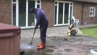 jet washing with karcher pressure washer for stone tile b