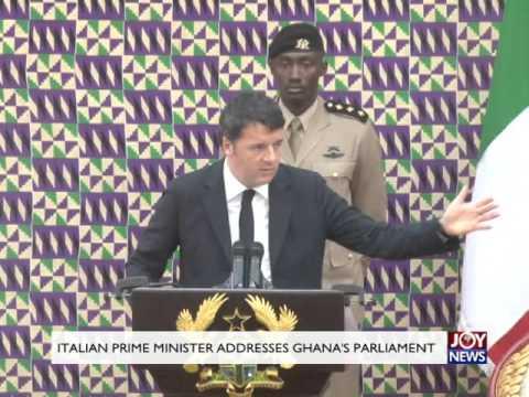 Italian Prime Minister addresses Ghana's parliament.