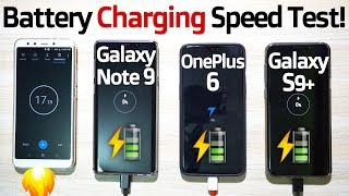 GALAXY NOTE 9 vs ONEPLUS 6 vs GALAXY S9 PLUS Battery Charging Speed Test! 🔥 (IT'S FASTER)