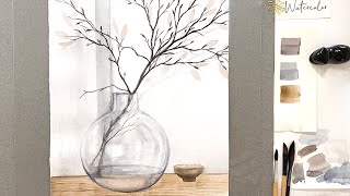 Watercolor still-life with a round glass vase - painting demonstration