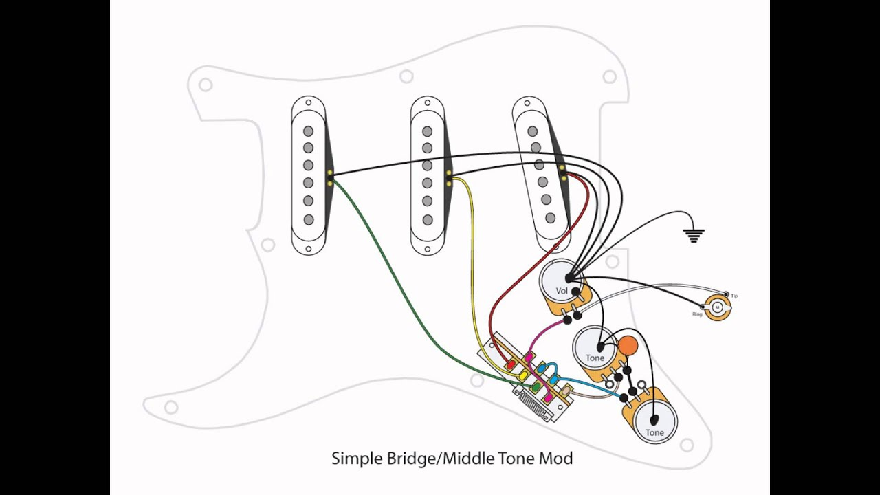 Fender Stratocaster Bridge Tone Control Wiring Diagram Pickup For Strat Youtube Typical