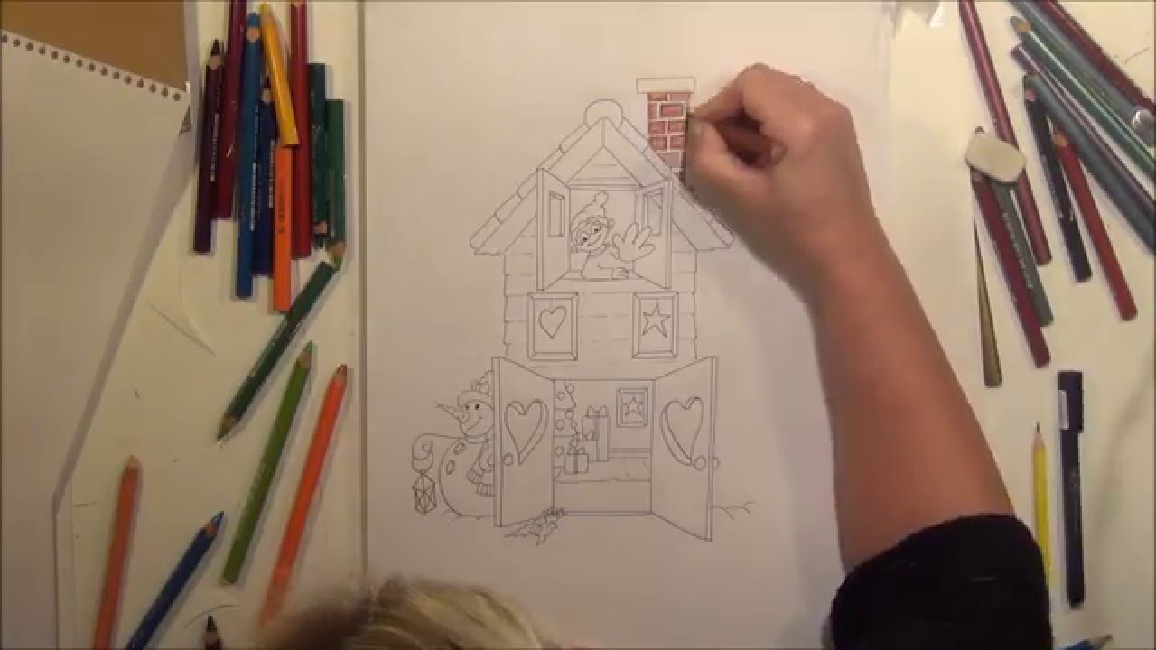 How to draw a christmas house