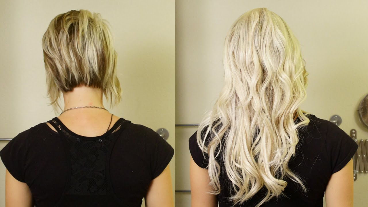 Tape hair extensions before and after
