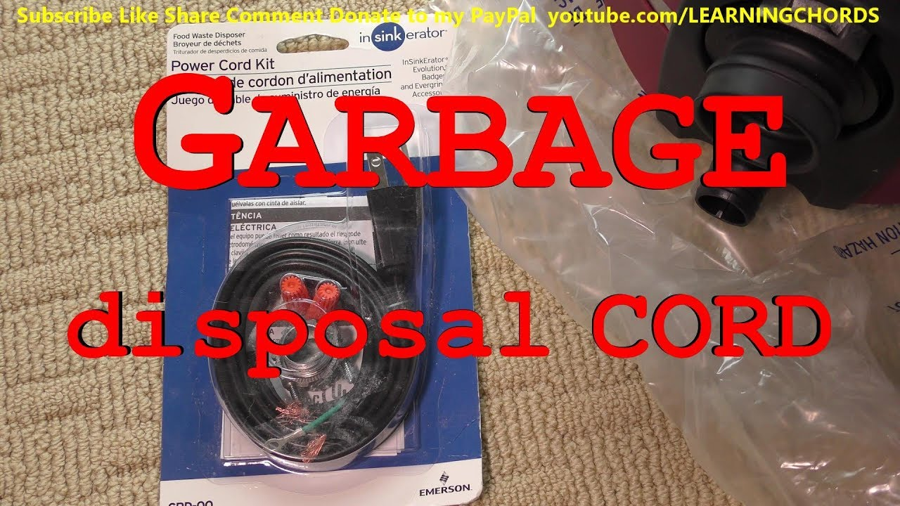 Insinkerator Garbage Disposal Power Cord Kit How To Replace Cord Youtube