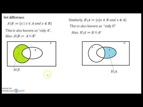Set Theory Part 4 - Set Difference and Symmetric Difference