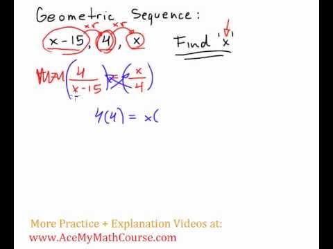 Geometric Sequence Problem - find \u0027x\u0027 - YouTube