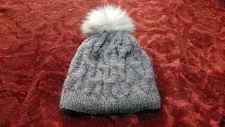 Стильный женский головной убор на зиму. Вязание спицами.