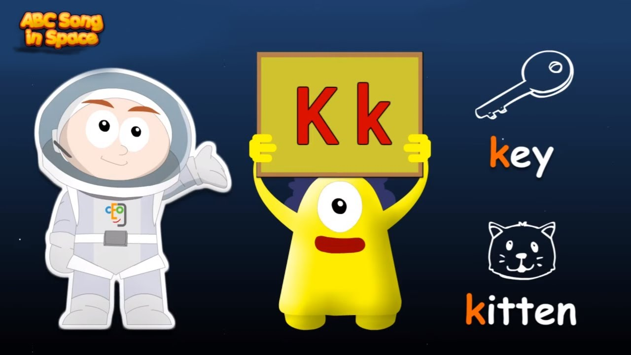English Alphabet Letters & Phonics Flashcards in Space: Mission KLMNO