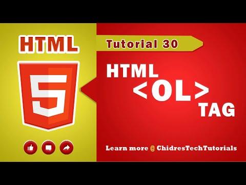 HTML Video Tutorial - 30 - Html Ol Tag And Html Li Tag