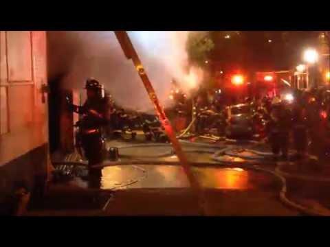 FDNY BATTLING 2 ALARM FIRE IN PARKING GARAGE ON W. 108TH ST. IN MANHATTAN VALLEY AREA OF MANHATTAN.