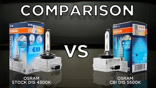 OSRAM 4300K OEM D1S vs. OSRAM 5500K CBI (Cool Blue Intense) D1S Bulbs by using Valeo D1 Projector.
