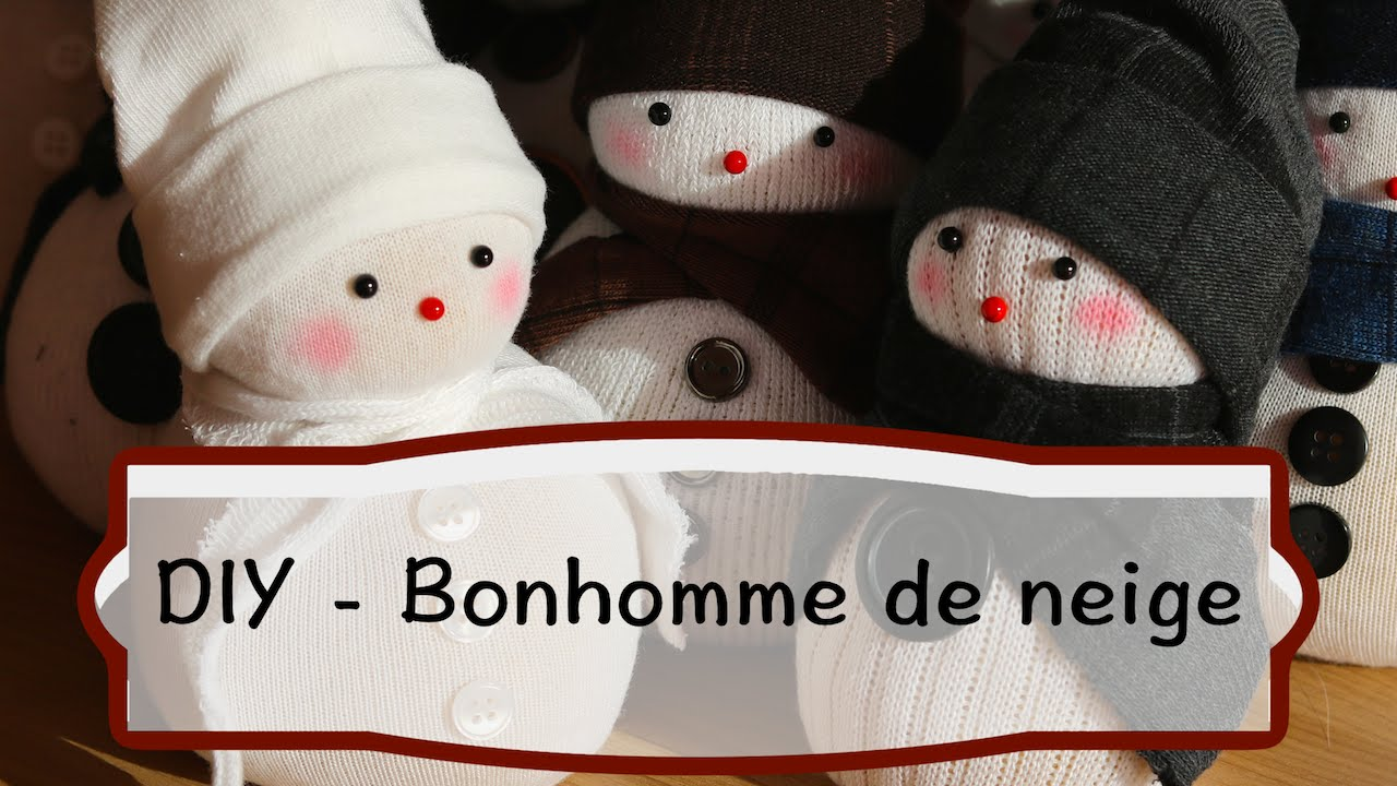 diy comment fabriquer un bonhomme de neige en chaussette tutoriel facile pour no l youtube. Black Bedroom Furniture Sets. Home Design Ideas