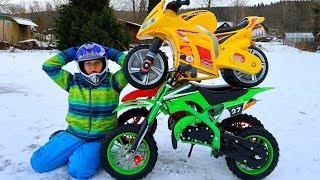 Funny Video For Children Baby Ride on Dirt Cross Bike Power Wheel Pocket Bike Magic Hide and Seek 2