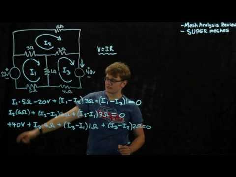 Circuits 1 - Mesh Analysis and Super Mesh - Example