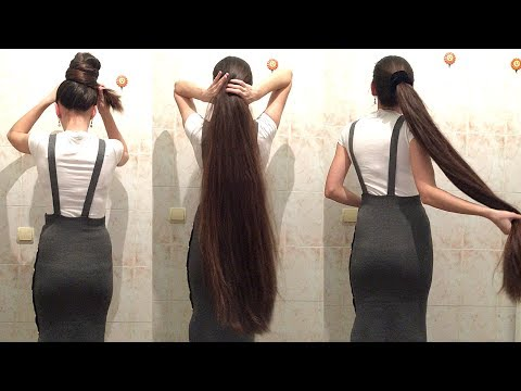 4 Minutes Super Long Hair Ponytail And Bun Drop [Tamila]