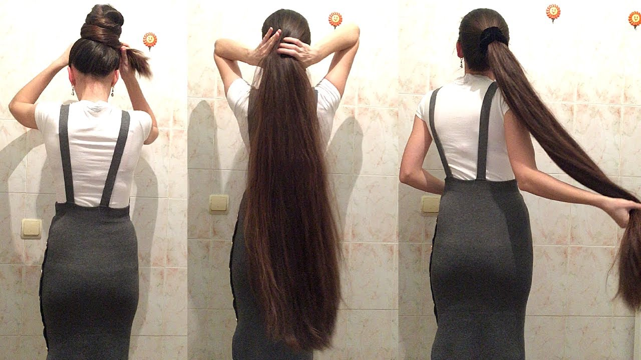 Really Long Hair Styles: 4 Minutes Super Long Hair Ponytail And Bun Drop [Tamila