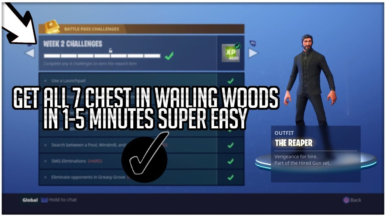 fortnite all 7 chest in wailing woods hack glitch complete season 3 challenge in minutes - fortnite gamertags search