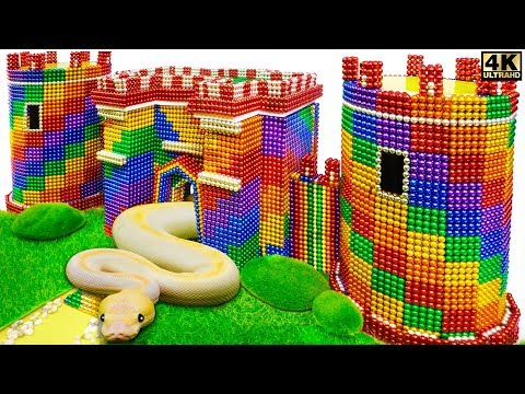 DIY - How To Build Amazing Castle For Python And Snake From Magnetic Balls ( Satisfying )