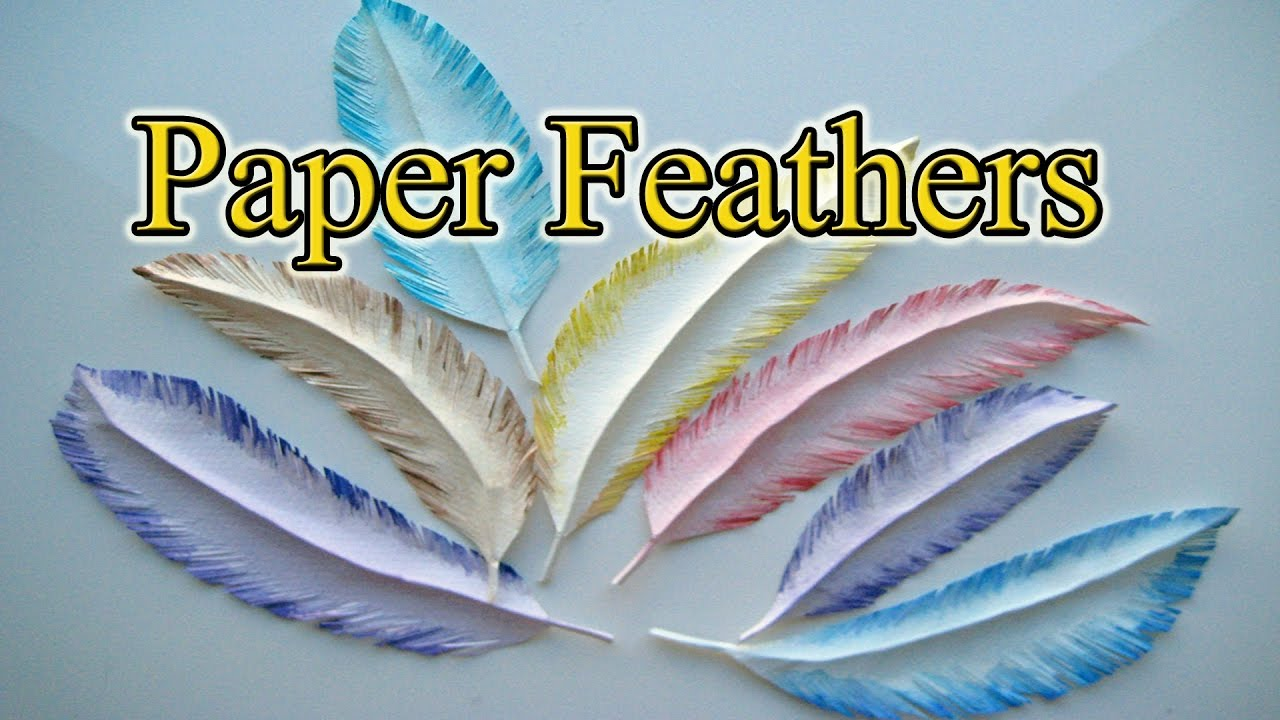 how to make a paper feather in 5 minutes gift wrapping ideas creative youtube. Black Bedroom Furniture Sets. Home Design Ideas