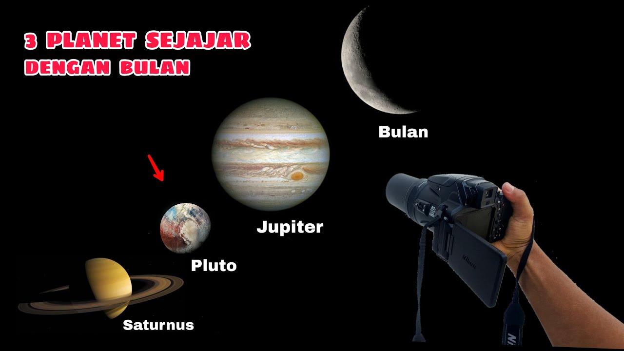 TELESCOPE ZOOM 1000X:  KONJUNGSI BULAN, JUPITER, PLUTO dan SATURNUS