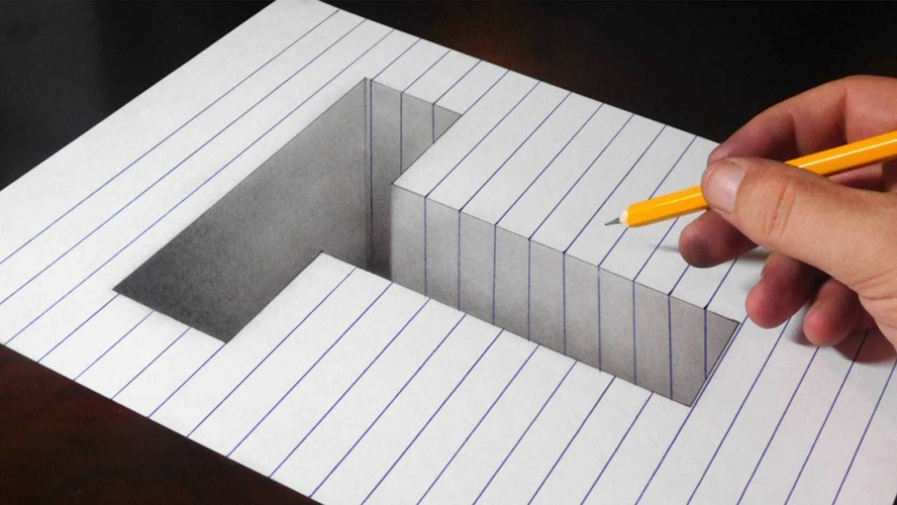 3d paper drawing hole line optical illusion letter draw easy trick letters
