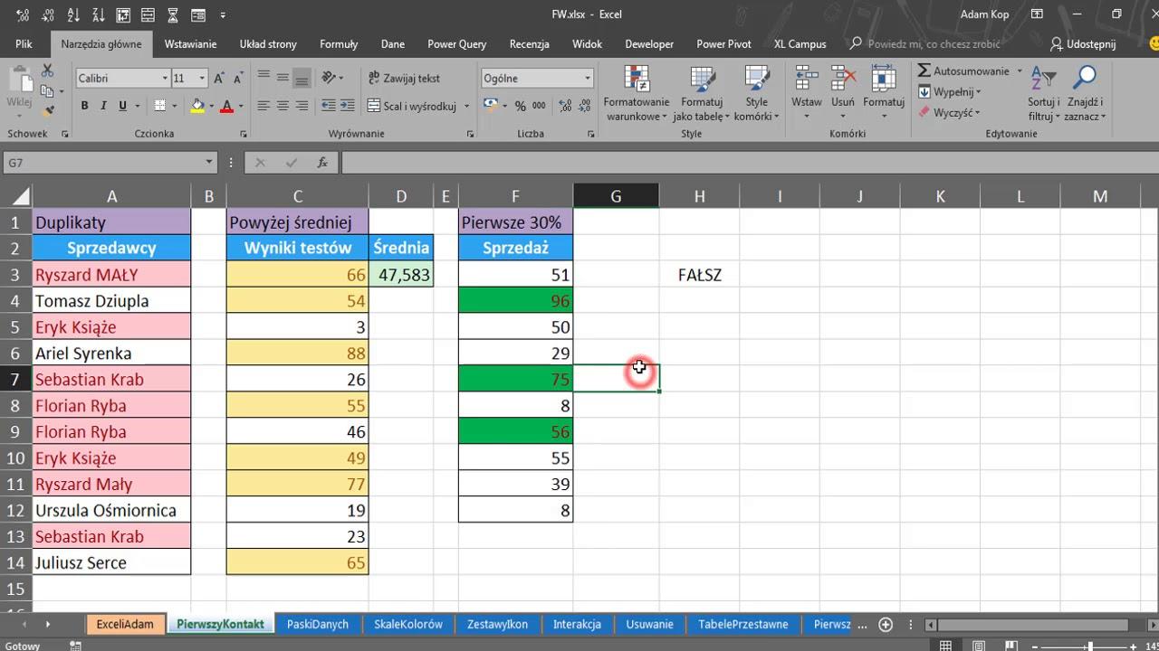 Excel Warsztat Formatowanie Warunkowe 2018 07 12 Youtube