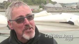 TV star Griff Rhys Jones skippering his classic yacht Argyll in the Rolex Fastnet Race 2015