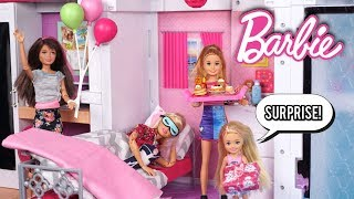 Barbie Doll  Family Birthday Surprise Morning Routine with New Dollhouse