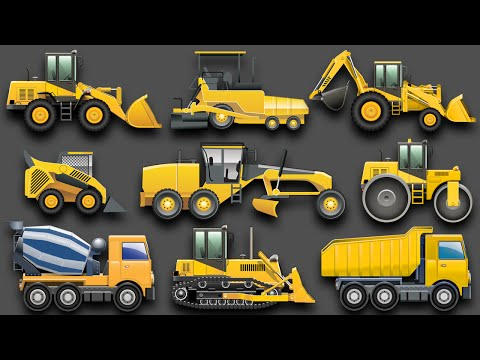 Learning Construction Vehicles For Kids - Construction Equipment Bulldozers Dump Trucks Excavators