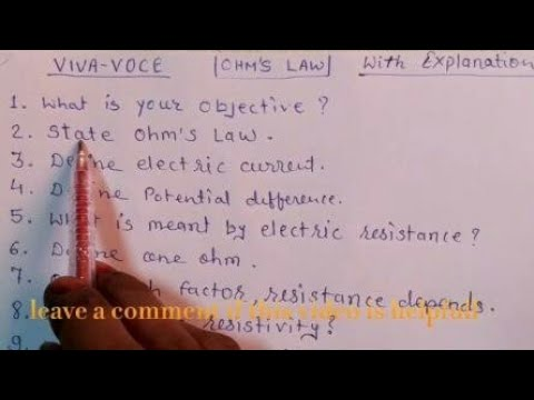 Viva voce question answer with explanation for OHM'S law
