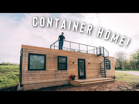 PERFECT SHIPPING CONTAINER HOME W/ ROOF PATIO!   AIRBNB FULL TOUR!