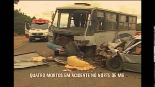 Batida entre carro e micro-ônibus deixa quatro mortos no Norte de Minas