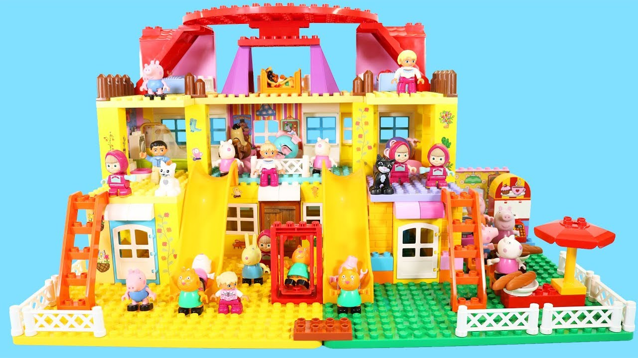 Peppa Pig Lego House Construction Sets With Water Slide Lego Duplo Toys For Kids 6