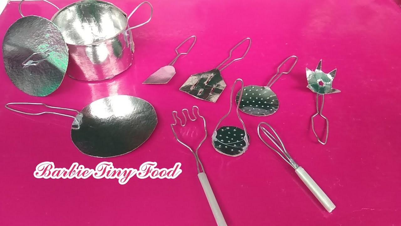 Diy Miniature Mini Kitchen Set Steel Cooking Set Making For Dollhouse Kitchen Diy Mini Kitchen Set Youtube