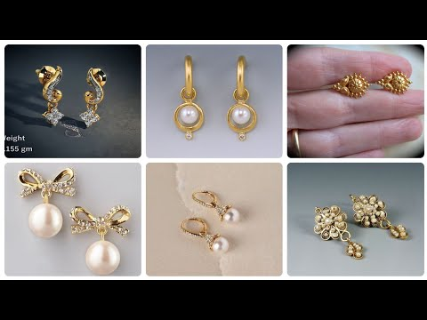 Latest And Modern Light weight 14k Gold Earrings And Gold Stud Designs With Pearl