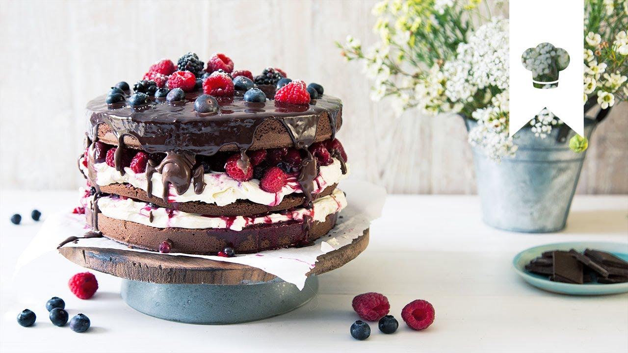 Naked Cake Selber Machen Rezept Fur Schokotorte Mit Waldbeeren
