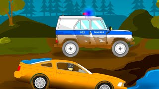 Полицейская машина мультик. Машинки для мальчиков. Познавательное видео для детей