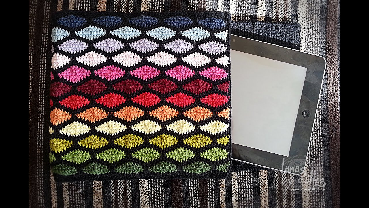 Tutorial Funda Tablet Crochet o Ganchillo Punto Ondas Wave Stitch ...
