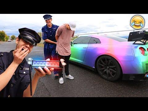USING FAKE POLICE LIGHTS ARREST PRANK! (FREAKOUT)