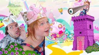 KiNG and QUEEN explore RAiNBOW JUNGLE!!  Finding New Unicorn Pets with Dad, neighbor play pretend