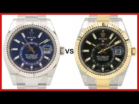 Rolex SKY-DWELLER: blue Dial, white-Gold fluted Bezel vs black, Two-Tone yellow-Gold - COMPARISON