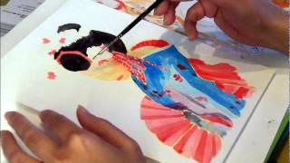 geisha con abanico acuarela acrilica acrilyc as watercolor painting original d76