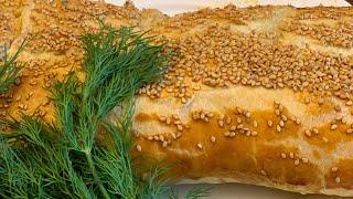 Пирог рыбный из слоеного бездрожжевого теста