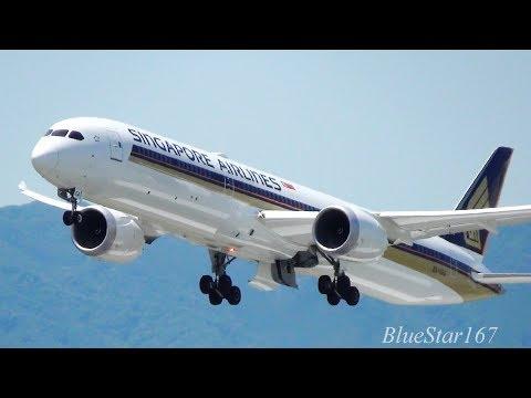 Singapore Airlines Boeing 787-10 (9V-SCA) takeoff from KIX/RJBB (Osaka - Kansai) RWY 06R