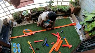 Hot wheels track set toys shoot with GoPRo