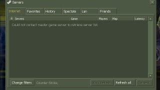 corrigindo erro : could not contact master game server to retrieve server list